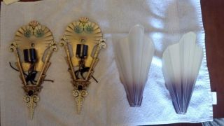 Antique Mid West Brown Tipped Frosted Art Deco Slip Shade Sconces photo