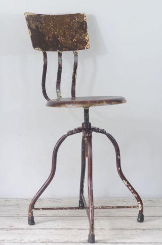 Vintage Industrial Stool Medical Stool Dental Stool Adjustable Stool Metal Stool photo