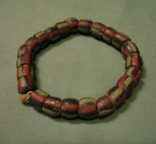 Strand Of Old African Black,  Red,  Green Stripe Powder Glass Beads photo