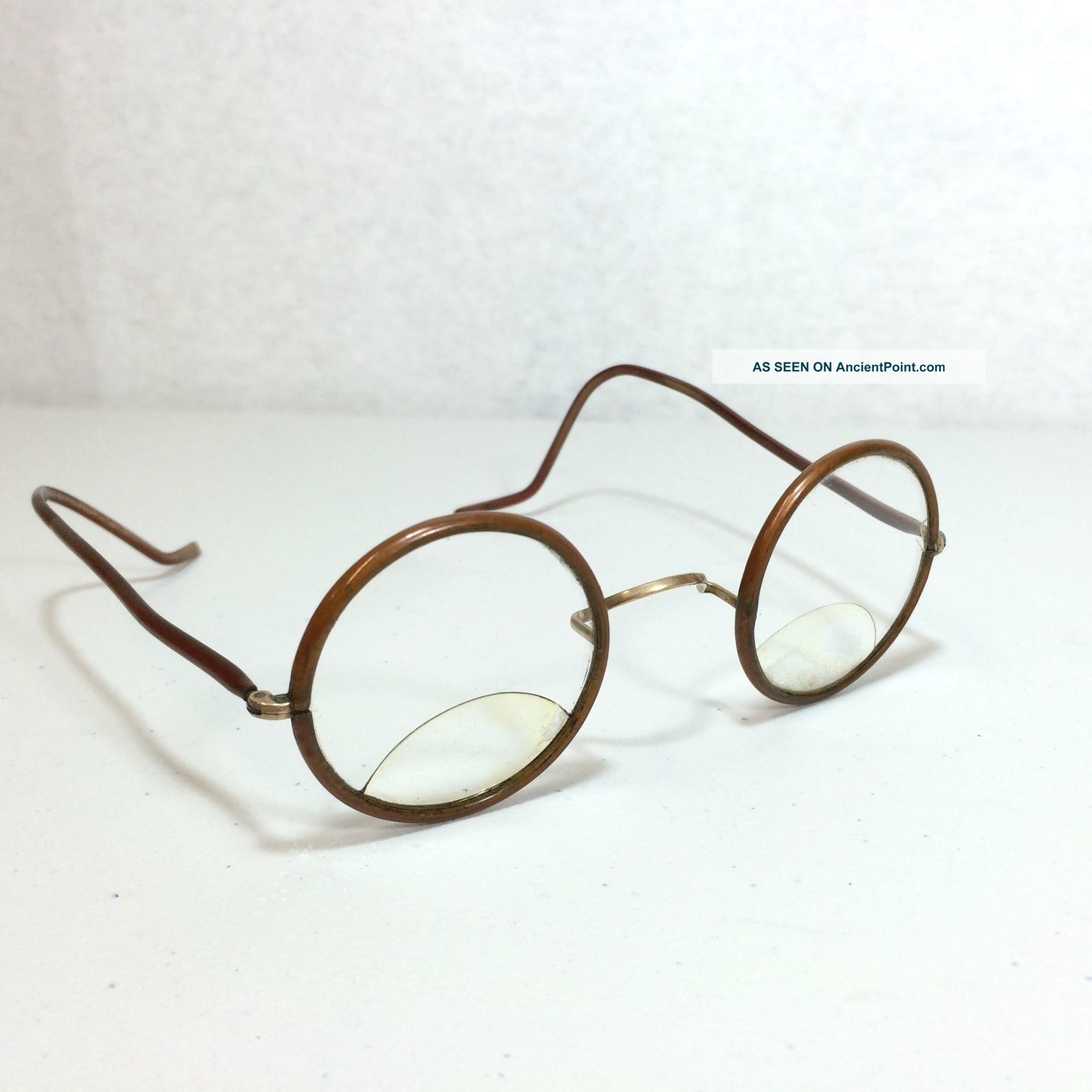 Round Antique Bifocal Spectacles Glasses Copper Color Metal Wire ...