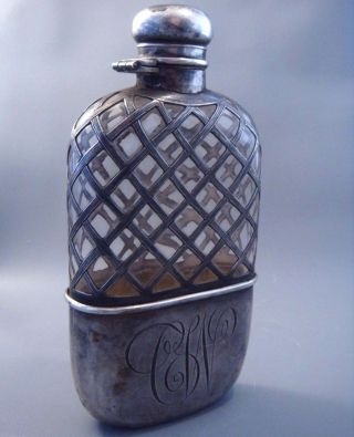 Rare Heavy Antique 1905 Wilcox & Wagoner Ornate Sterling Silver & Glass Flask photo