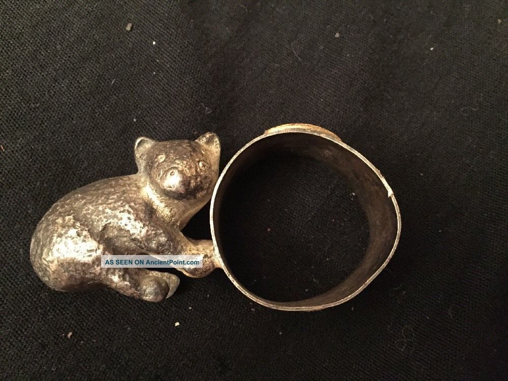 Rare Antique Victorian Baby Bear Silver/silverplate Figural Napkin Ring/holder Napkin Rings & Clips photo
