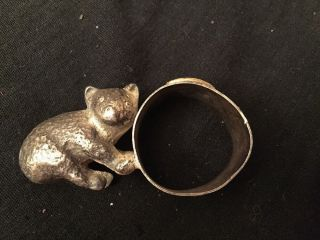 Rare Antique Victorian Baby Bear Silver/silverplate Figural Napkin Ring/holder photo