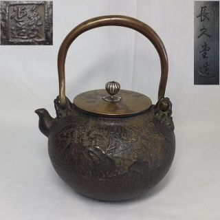 B131 Japanese Iron Teakettle Tetsubin With Great Relief Work And Silver Knob photo