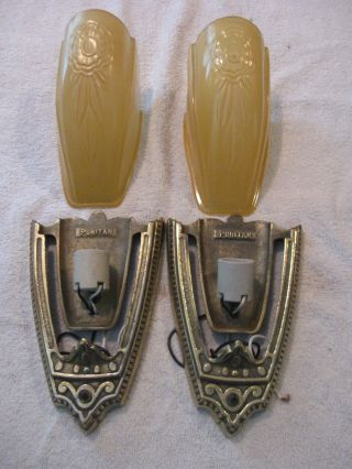 Premium Pair Antique Art Deco Wall Sconces Slip Shades Puritan Flower Amber photo