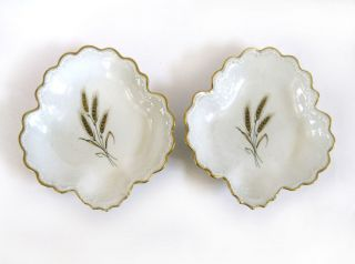 2 Antique L Michelaud Limoges Porcelain Shallow Bowls Gold Wheat C1900 France photo