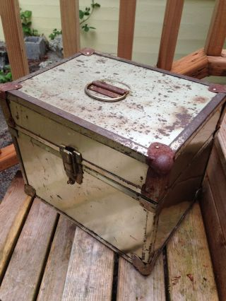 Mid Century Vintage Brass Treasure Chest Trunk Hollywood Regency photo