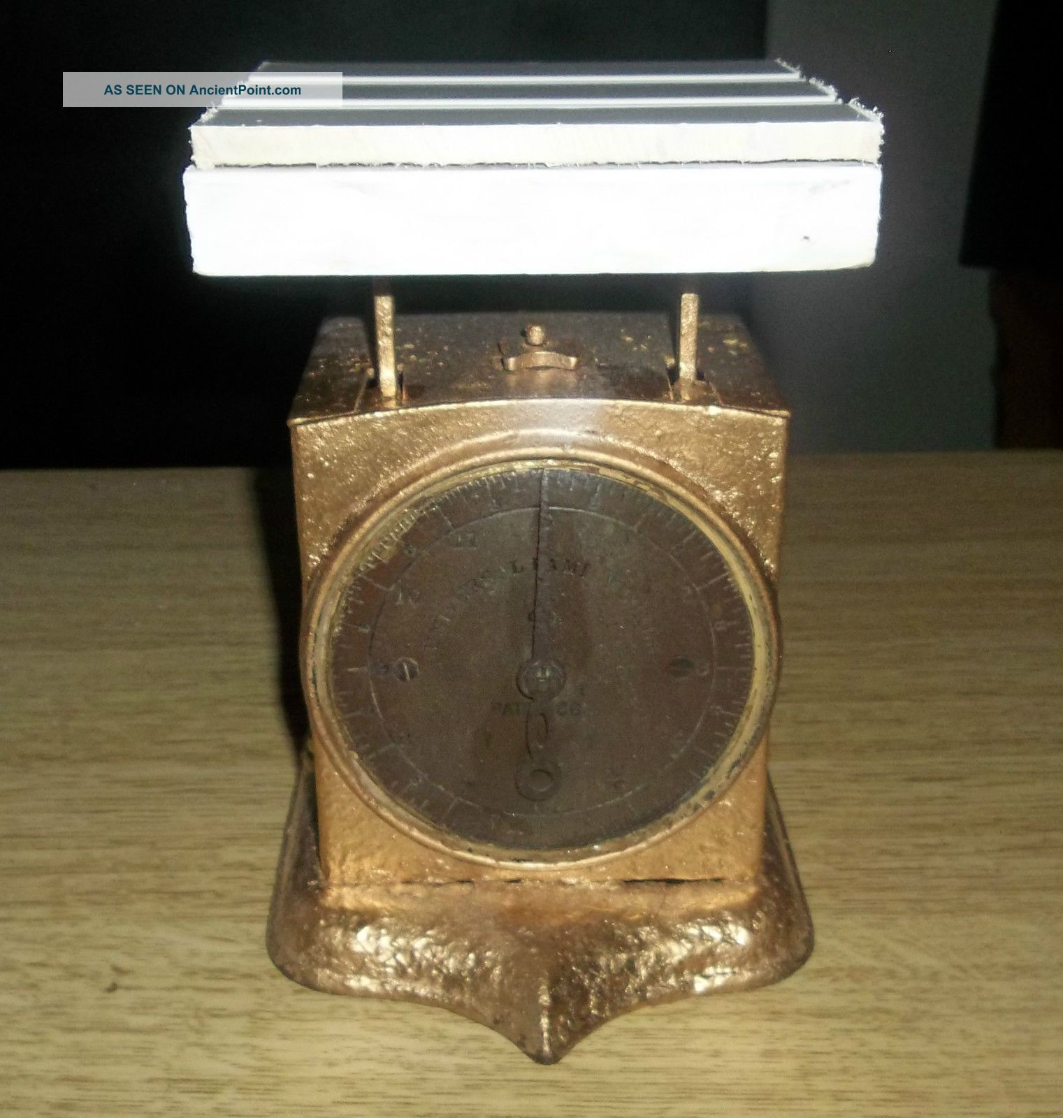 1865 Antique Universal Family Metal Face Kitchen Scale 12 Lbs Vintage