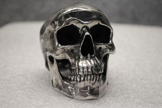 Antique Italian Sterling Silver Miniature Human Skull photo