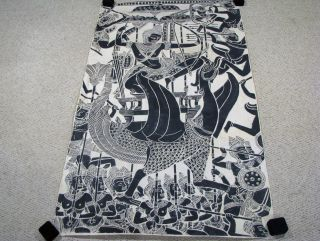 Vintage Large Siam Thailand Temple Rubbing - Large Bird & Figures - 55
