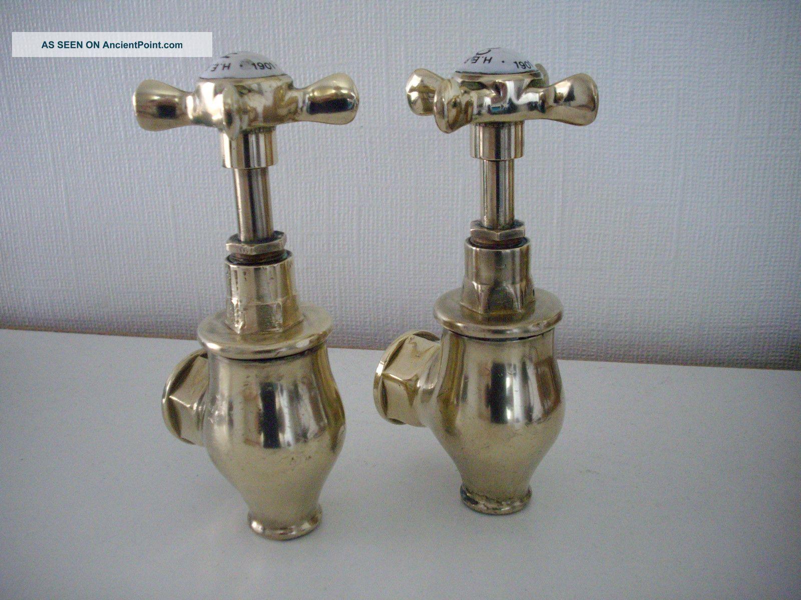 Pr - Reclaimed Vintage Solid Brass Globe Bath Taps