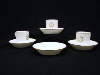 Sevres Ceramic Porcelain 3 Tea Cup & 4 Saucer Hand With Gold Detailing photo