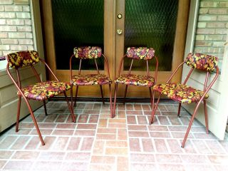 2 Vtg Mid Century Modern Retro Floral Metal Vinyl Hamilton Cosco Folding Chairs photo