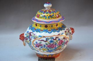 Chinese Colorful Hand - Painted The Lotus & Fish Porcelain Vase W Qianlong Mark photo