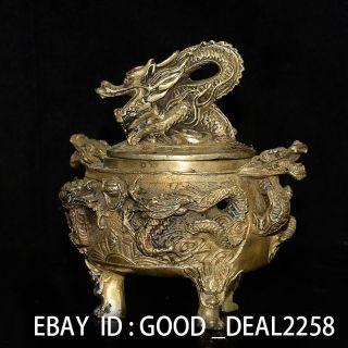 China Brass Handwork Carved Incense Burner & Dragon Lid W Ming Dynasty Mark photo