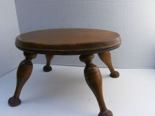 Ex Vtg Estate Oval Solid Wood Step/foot Quality Stool Detail photo