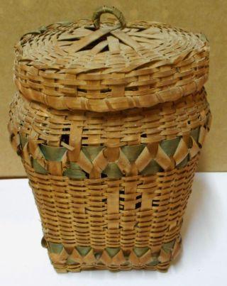 Vtg Native American Indian Covered Basket Curled Wood Splint Plains Natural Dye photo