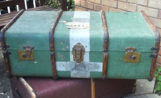 1920/30s Bentwood Banded Steamer Trunk - P&o Labels - Large photo
