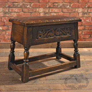 Antique Joint Stool,  Padded Leather Locker Seat,  Carved Victorian,  English Oak photo