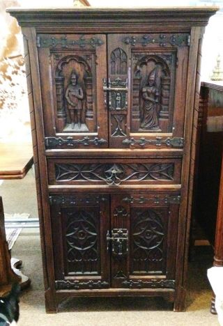 Gothic Large Figural Carved Oak Belgium Cabinet Cupboard C.  1920 Dutch photo