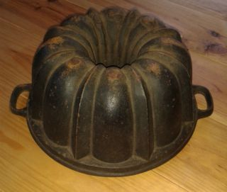 Very Rare Very Big Antique,  Cast Iron Bundt Pan Germany 4097g photo
