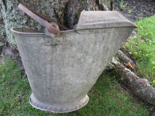 Vintage Galvanized Coal/ash Bucket/shuttle With Iron Handle photo