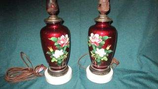 Japanese Ginbari Cloisonne Vase Pigeon Blood Red Roses Birds Lamps photo
