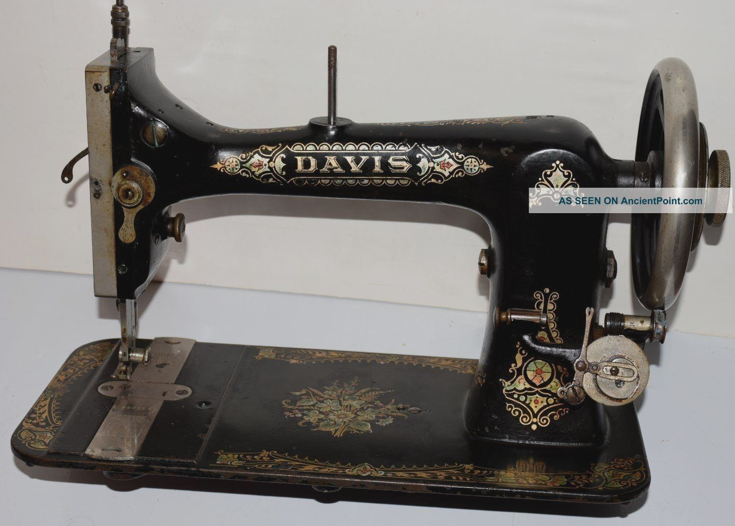 Antique Vintage Treadle Sewing Machine Davis Vertical Feed Ornate Floral V.  F Sewing Machines photo