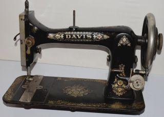 Antique Vintage Treadle Sewing Machine Davis Vertical Feed Ornate Floral V.  F photo