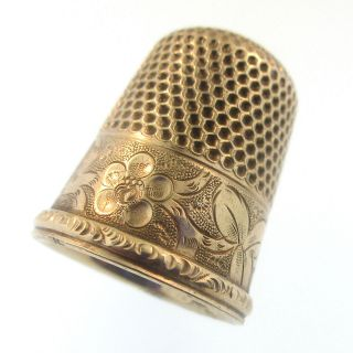 H Muhr & Sons 14k Gold Filled Thimble 7 Vintage 1880s Engraved Flower Henry Gf photo