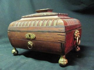 Antique Regency Style Wooden Sewing Jewelry Box Organizer Ball Claw Talon Feet photo