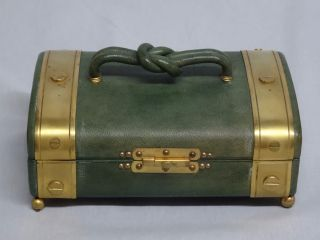 French Antique Verry & Fils Paris Sewing Box Green Leather Gilded Brass photo