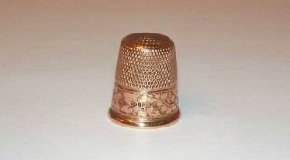 Charles Horner 9k/9ct Gold Thimble Chester England English Hallmark/initials1985 photo