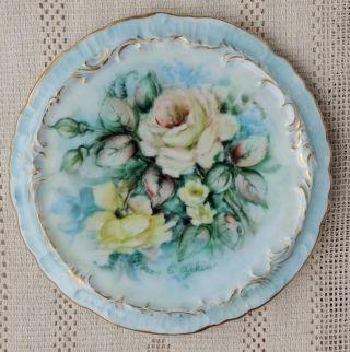 Vintage Hand Painted & Signed Porcelain Trivet Or Tea Caddy - Lovely Rose Design photo