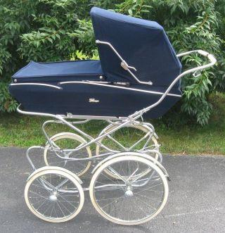 Perego Venezia Baby Carriage Buggy Stroller Made In Italy Nos Blue photo
