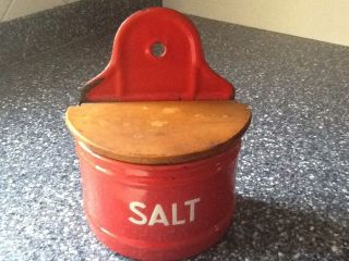 Vintage Graniteware Enamelware Red Salt Box photo