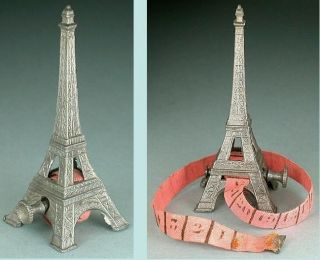 Antique Figural Eiffel Tower Tape Measure Circa 1900 photo