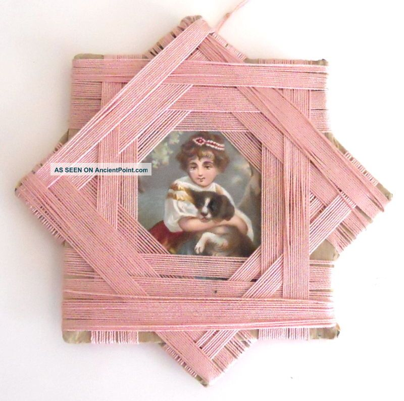 Antique Victorian Sewing Silkwinder Handmade Star Pink Silk Thread Dog Picture Other Antique Sewing photo