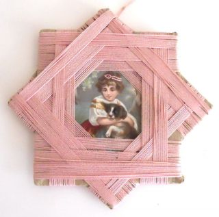 Antique Victorian Sewing Silkwinder Handmade Star Pink Silk Thread Dog Picture photo