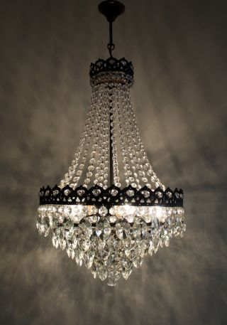 Vintage // Antique French Basket Style Brass & Crystals Chandelier Ceiling Lamp photo