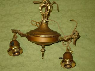 Antique Brass Ceiling Light Fixtures Salvaged In 1970 ' S From Hall In Canova Sd photo