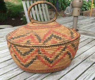 Antique Native American Northwest Coast Salish Indian Basket photo