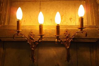 French A Wall Light Sconces Ornate Bronze Really Gorgeous photo