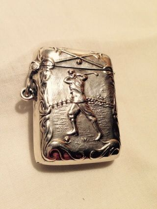 Silver Vesta Case In The Form Of A Golfer Driving,  Fantastic Piece photo