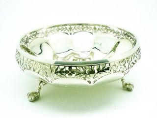 Solid Silver Bowl,  Sterling,  Pierced,  Claw & Ball Feet,  English,  Hallmarked 1919 photo