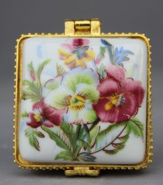 Chinese China White Porcelain Lilium Flower Jewel Casket Jewellery Box photo