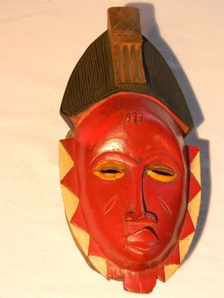 Antique African Gouro Tribal Hand Carved Ethnic Wood Ceremonial Mask T765 photo