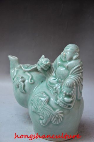 Delicate Chinese Light Blue Porcelain Handwork Gourd Shaped Reflux Pot - Buddha photo