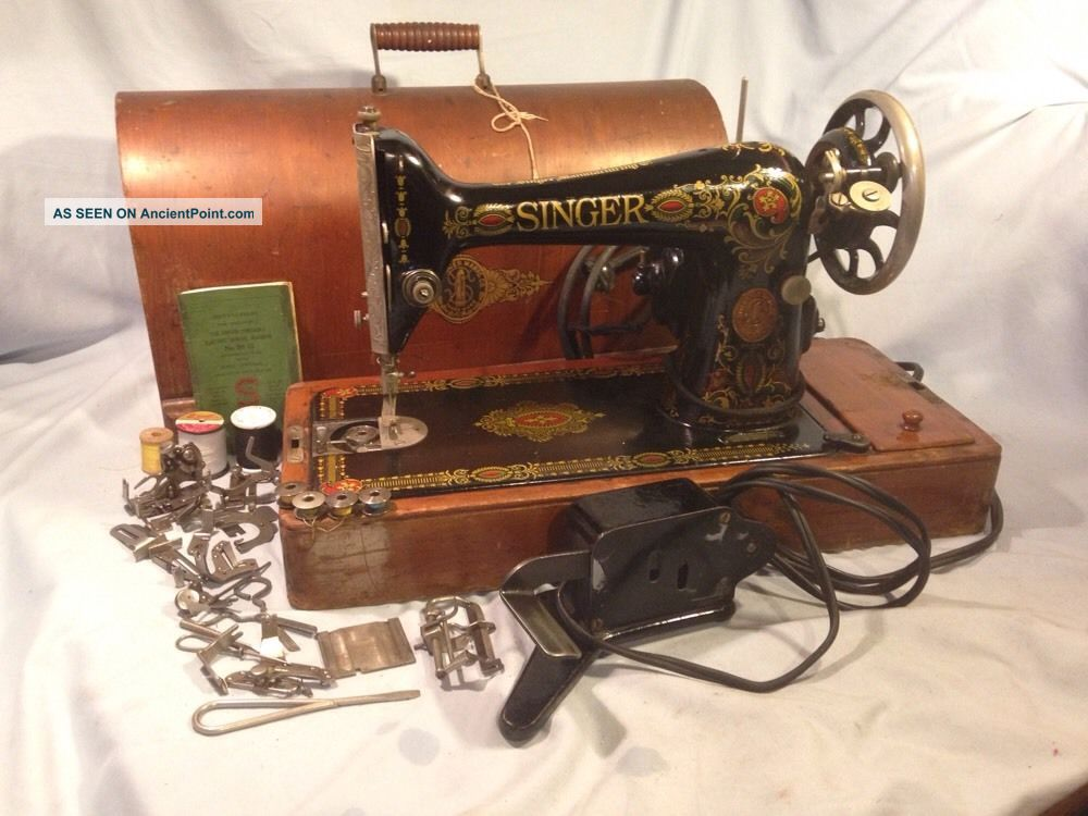 Antique 1919 Singer Sewing Machine - Model 99 - 13 W/ Case And Sewing Machines photo