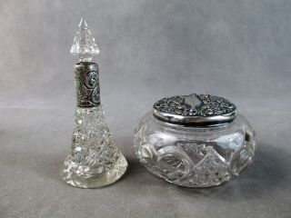 C1900 English Cut Glass Perfume Bottle & Powder Jar W/sterling Silver Fittings photo